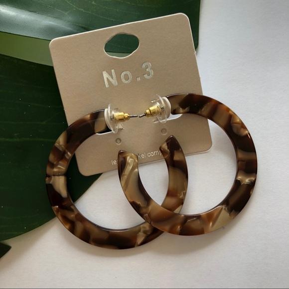 No. 3 Jewelry - No. 3 Acrylic Tortoise Hoop Earrings NWT